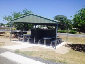 Eastbound shelter sponsored by fuel industry